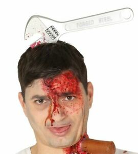Halloween Fake Wound Injury Spanner On Head Headband Fancy Dress Accessory