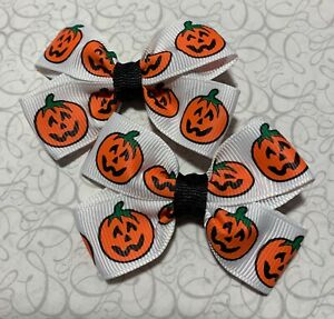 Lot 2 Pumpkins Halloween Dainty Pigtail Hair Bow Set Fits Baby to Toddler Cute