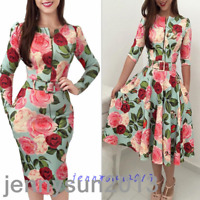 Retro Women Floral Print Zipper Belt Bodycon Dress Cocktail Party Club Dresses