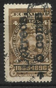 STAMPS-ECUADOR. 1895, 5c on 4c Brown. Guaranda Provisional. BC: 86. Fine Used