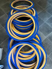 """Blue amber wall tyres 20"""" old school comp 3 style x2"""