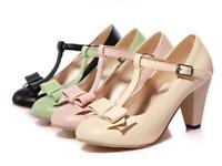 Womens High Block Heel Pumps T-Bar Plus Size Sweet Vintage Spring 2017 Shoes New