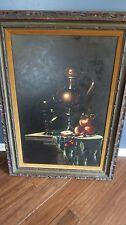 """Vintage GOTHIC Vampire Dark Still Life Oil Gyula Bubarnik Hungarian 36"""" x 24"""""""