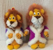 2 Plush Vintage Liberty Toy King Lion Purple Robe Crown