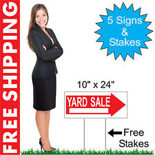 """5 - 10"""" x 24"""" Yard Sale Directional Yard Signs Corrugated Plastic + FREE Stakes"""