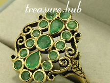 R274 Genuine 9ct Yellow Gold NATURAL Emerald Cluster Ring size N Vintage style