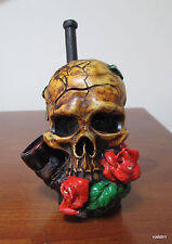 Collectible Rose Skull Tobacco Pipe Handmade and Painted Smoking