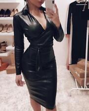 Women Faux Leather V Neck Belt Bodycon Dress Long Sleeve Party Club Dress