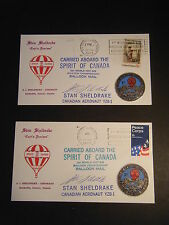 2/13&15/1973 Spirit of Canada CARRIED Balloon Mail covers Signed Stan Sheldrake