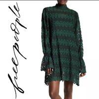 Free People Simone Boho Lace Mini Dress Emerald Green Size XS NWT $128 Retail