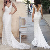 Women Lace White Wedding Dresses V Neck Beach Dress Cheap A-line Bridal Dress