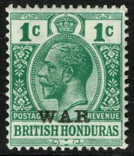 SG 116 BRITISH HONDURAS 1917 WAR STAMP - 1c BLUE-GREEN - MOUNTED MINT