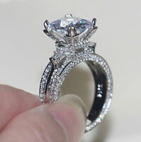 Engagement Radiant Ring Set 3.0 ct Multi Shape Cut Diamond Solid 14k White Gold