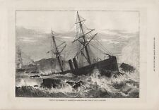 OLD 1876 PRINT WRECK OF THE STEAM SHIP ST LAWRENCE ON PATERNOSTER REEF b25