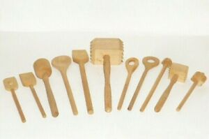 11 Old Wooden Spoon Dollhouses Dolls Tableware Doll's Kitchen Accessories