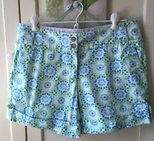 Lands' End Women's Cuff Shorts W/ Light Green, Blue & White Flowers Size 6.