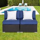 2pc Garden Pe Rattan Middle Sofa Dark Blue Cushion Couch Outdoor Patio Furniture