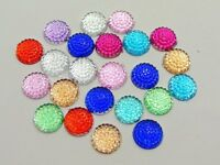 200 Mixed Color Flatback Acrylic Dotted Round Rhinestone Cabochon Dome 10mm