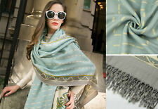 100 % WOLLE PASLEY BLUMEN SCHAL TUCH LARGE WOOL FLORAL PRINT SOFT SCARF SHAWL