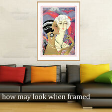"""Vintage art poster Gatsby deco ladies painting old for glass frame 36"""""""