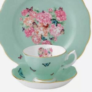 Royal Albert/Miranda Kerr Tea Cup & Saucer Pastel Green / Butterfly NEW IN BOX