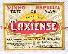 1940s BRASIL Caxias Do Sul Vincola COSTA IRMAOS Caxiense Vinho Especial Label