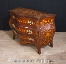 Bombe Commode Chest Drawers Dutch Marquery  Inlay Cabinet
