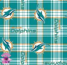 Miami Dolphins NFL Football Plaid Fabric 6488 D