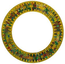 """Handcrafted Decorative Mosaic 24"""" Round Wall Mirror, Gold, Navy Blue"""