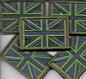 Union Jack Patch MTP Small Badge TRF Military Army Subdued Green