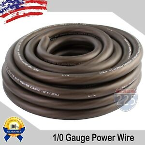 25Ft True 1/0 0 AWG Gauge Power Positive Wire Strand Cable 25' BLACK HI-Quality