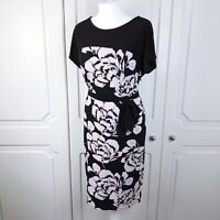 Laura Ashley Black & Beige Floral Occasion Dress Size 10 VGC Wedding / Party