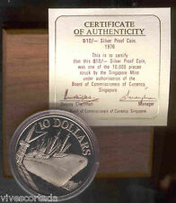 Singapore 10 Dollari 1976 argento @@ Proof @@ con astuccio y certificato @@ NAVE