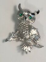 Vintage Signed Monet Brooch/Pin Owl on Branch Silver Tone With Green Eyes