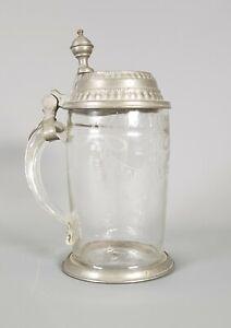 Glaskrug mit Zinndeckel Glas, geblasen, geschnitten, DE 19. Jh.  8,8 x 18 cm