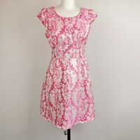 Louche Pink white Jacquard Brocade Style Fit And Flare skater Party Dress 10