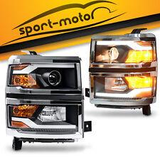 2x Projector Black Headlight LED Signal DRL For 2014-2015 Chevy Silverado