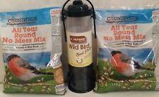 Wild Bird Seed feeder & 1.4kg  All Year Mix Garden Feed Food Birds Seeds