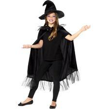 Filles Noir Sorcière Kit Brillant Cape Chapeau Enfants Halloween