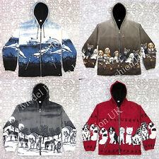 New Womens Double Fleece Animal Print Jacket With Pockets & Hood, Winter Warmer