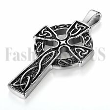 Men's Stainless Steel Large Celtic Cross Irish Knot Pendant Necklace Chain 22""