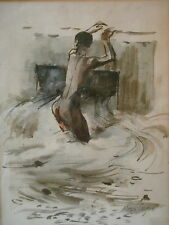 MOYA COZENS Watercolor of Jamaican Youth in Gully REDUCED!