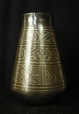 Ancient Vase 18th Arabic Persian Art Gold Middle-East Iron & Silver Wire