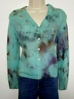 N.PEAL 100% PURE CASHMERE CARDIGAN JUMPER M BLUE PURPLE DYED 760