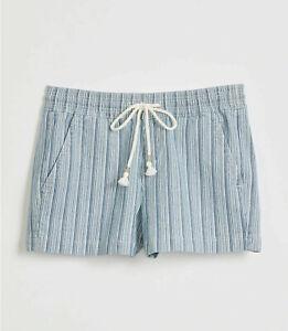 NEW Loft Blue White Striped Pull On Denim Shorts Size L