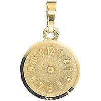 Anhänger, Uhr Taufuhr ohne Zeiger aus 333 Gold Gelbgold, für Kinder