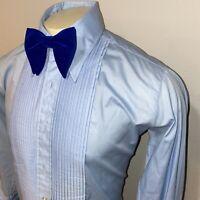Vtg 70s AFTER SIX Tuxedo Shirt BLUE Ruffles TUX Dress Retro Prom Mens 16.5 31 32