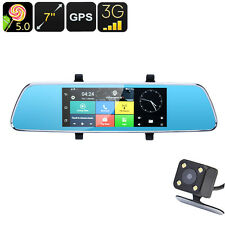 Android 5 Car DVR Rear View 7 inch Mirror Reversing Park Sensor Camera, GPS, 3G