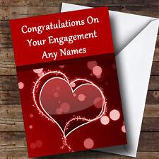 Rojo Amor Corazón Romántica Personalizada compromiso tarjeta de saludos