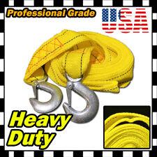 """4M 13FT 2"""" X 10' Yellow Rope Heavy Duty Tow Strap Hooks 10k Lb 5 ton Capacity U"""